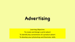 Advertising Learning Objective: