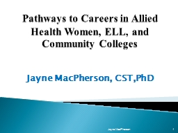 Pathways to Careers in Allied Health Women, ELL, and Community Colleges