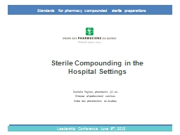 Sterile Compounding in the Hospital Settings