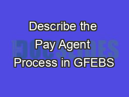 Describe the Pay Agent Process in GFEBS