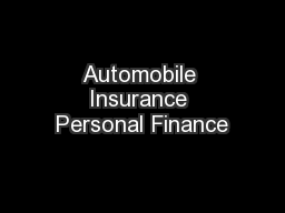 Automobile Insurance Personal Finance