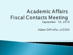 Academic Affairs Fiscal Contacts Meeting