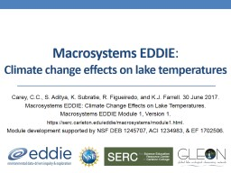 M acrosystems  EDDIE :  Climate change effects on lake temperatures