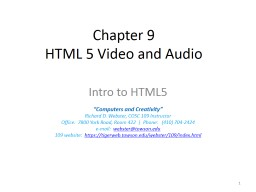 Chapter 9 HTML 5 Video and Audio