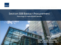 Section 508 Basics – Procurement