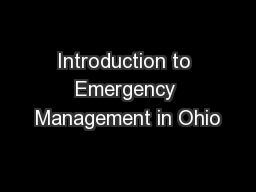 Introduction to Emergency Management in Ohio