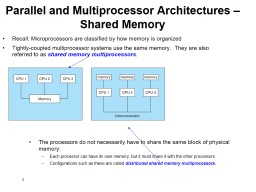 1 Parallel and Multiprocessor Architectures � Shared Memory