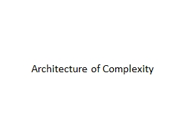 Architecture of Complexity