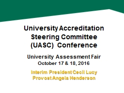 University Accreditation Steering Committee PowerPoint PPT Presentation