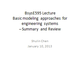 BsysE595 Lecture  Basic modeling approaches for engineering