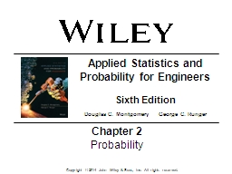 Chapter   2 Probability Applied Statistics and Probability for Engineers