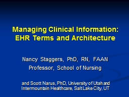 Managing Clinical Information: EHR Terms and Architecture