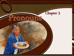 Chapter 3 Pronouns pro- acting in the place of    something (substitute)