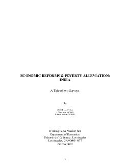 ECONOMIC REFORMS  POVERTY ALLEVIATION INDIA A Tale of