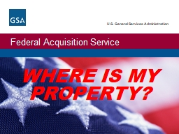WHERE IS MY PROPERTY?   Where Is My Property?