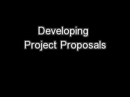 Developing Project Proposals