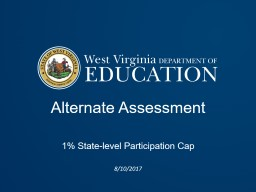 Alternate Assessment  1% State-level Participation Cap