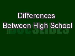 Differences Between High School