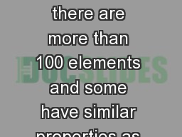 S8P1f  Recognize there are more than 100 elements and some have similar properties as shown on the PowerPoint PPT Presentation