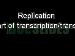 Replication (not part of transcription/translation)
