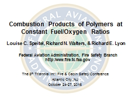 Combustion Products of Polymers at Constant Fuel/Oxygen Ratios