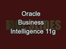 Oracle  Business  Intelligence 11g