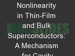 RF Nonlinearity in Thin-Film and Bulk Superconductors: A Mechanism for Cavity
