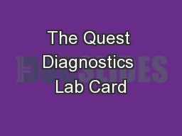 The Quest Diagnostics Lab Card