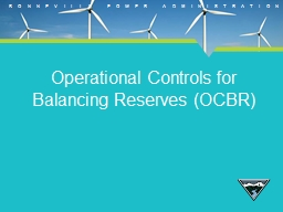 Operational Controls for Balancing Reserves (OCBR)