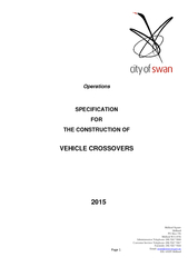 SPECIFICATION FOR THE CONSTRUCTION OF VEHICLE CROSSOVERS