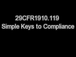29CFR1910.119 Simple Keys to Compliance