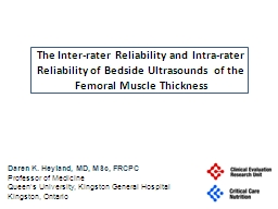 The Inter-rater Reliability and Intra-rater Reliability of Bedside Ultrasounds of the Femoral Muscl