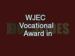 WJEC  Vocational Award in