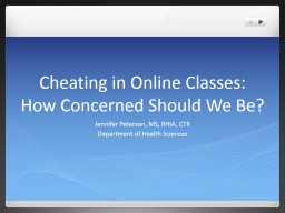 Cheating in Online Classes: