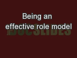 Being an effective role model