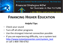 Financing Higher Education PowerPoint PPT Presentation