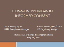 Common Problems in Informed Consent PowerPoint PPT Presentation