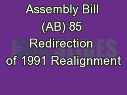 Assembly Bill (AB) 85 Redirection of 1991 Realignment