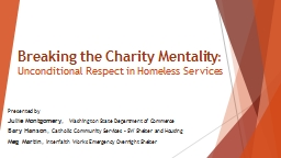Breaking the Charity Mentality