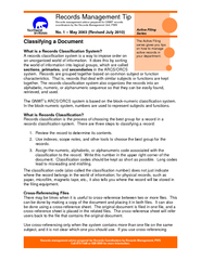 Records management advice prepared for Records Coordin
