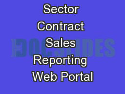 Cisco Public Sector Contract Sales Reporting Web Portal