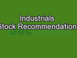 Industrials Stock Recommendations