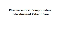 Pharmaceutical Compounding