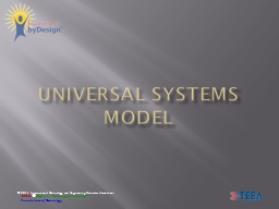 Universal Systems Model What is a system?