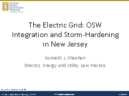 The Electric Grid:  OSW  Integration and Storm-Hardening in New Jersey