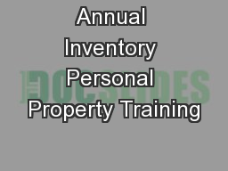 Annual Inventory Personal Property Training