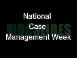 National Case Management Week