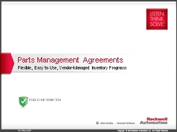 Parts Management Agreements