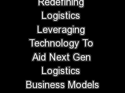 Redefining Logistics Leveraging Technology To Aid Next Gen Logistics Business Models