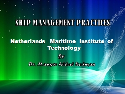 SHIP MANAGEMENT PRACTICES